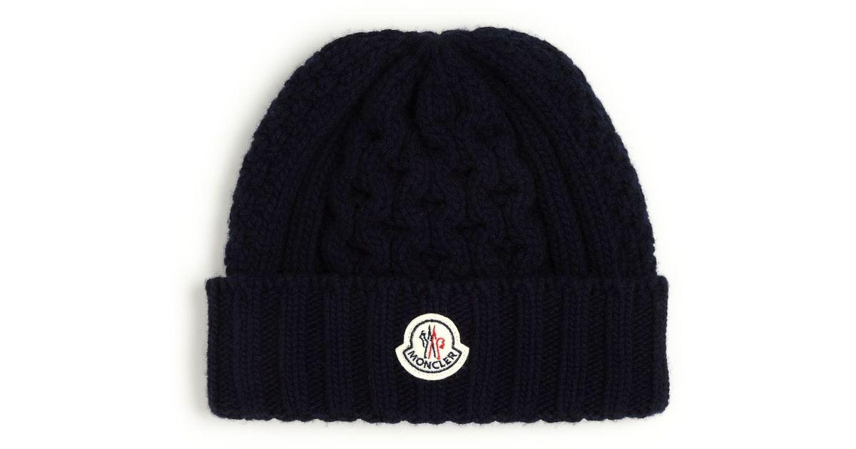 b79df8974 Moncler Blue Berretto Cable Knit Hat for men