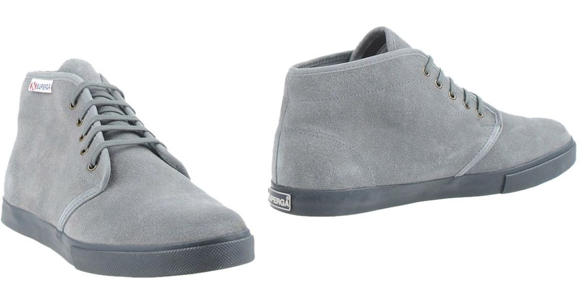 Superga Leather Ankle Boots in Grey