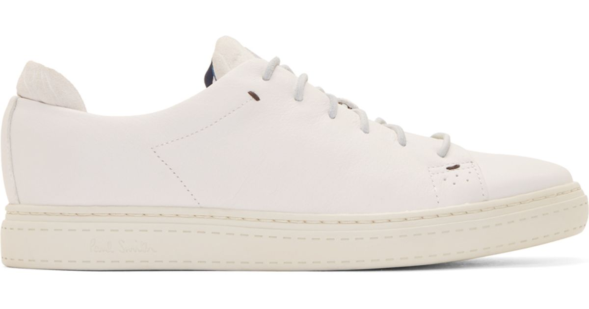 3f292e519b4cf Lyst - Paul Smith White Leather And Suede Bowie Sneakers in White for Men