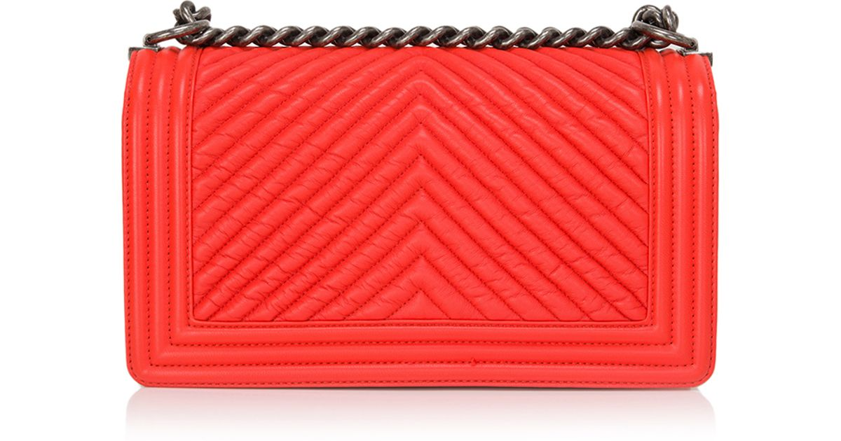 233b9d3fcc77 Lyst - Madison Avenue Couture Chanel Orange Chevron Medium Boy Bag in Red