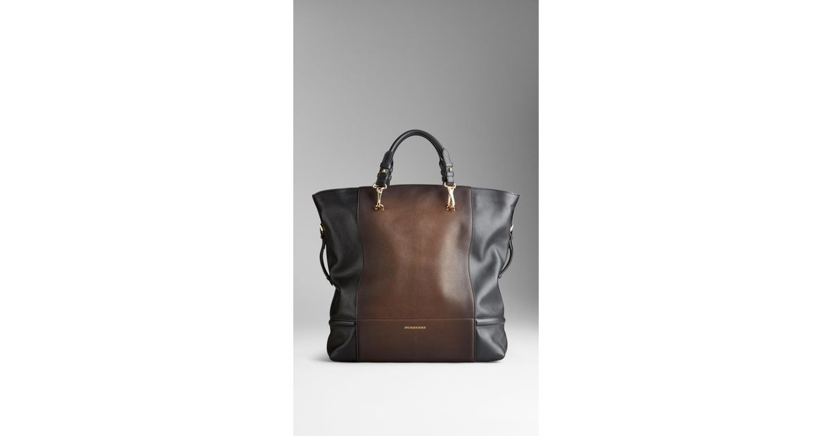 457ce92583 Burberry Degradé Brushed Leather Tote Bag in Brown - Lyst