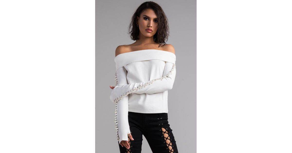 92999b5a1426 AKIRA Covet Off Shoulder Pearl Sleeve Top in White - Lyst