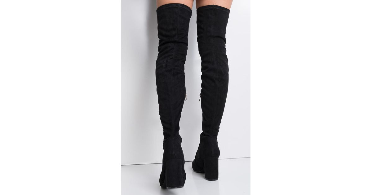 57d062120a5 Akira Black Sexy Over The Knee Chunky Heel Boots
