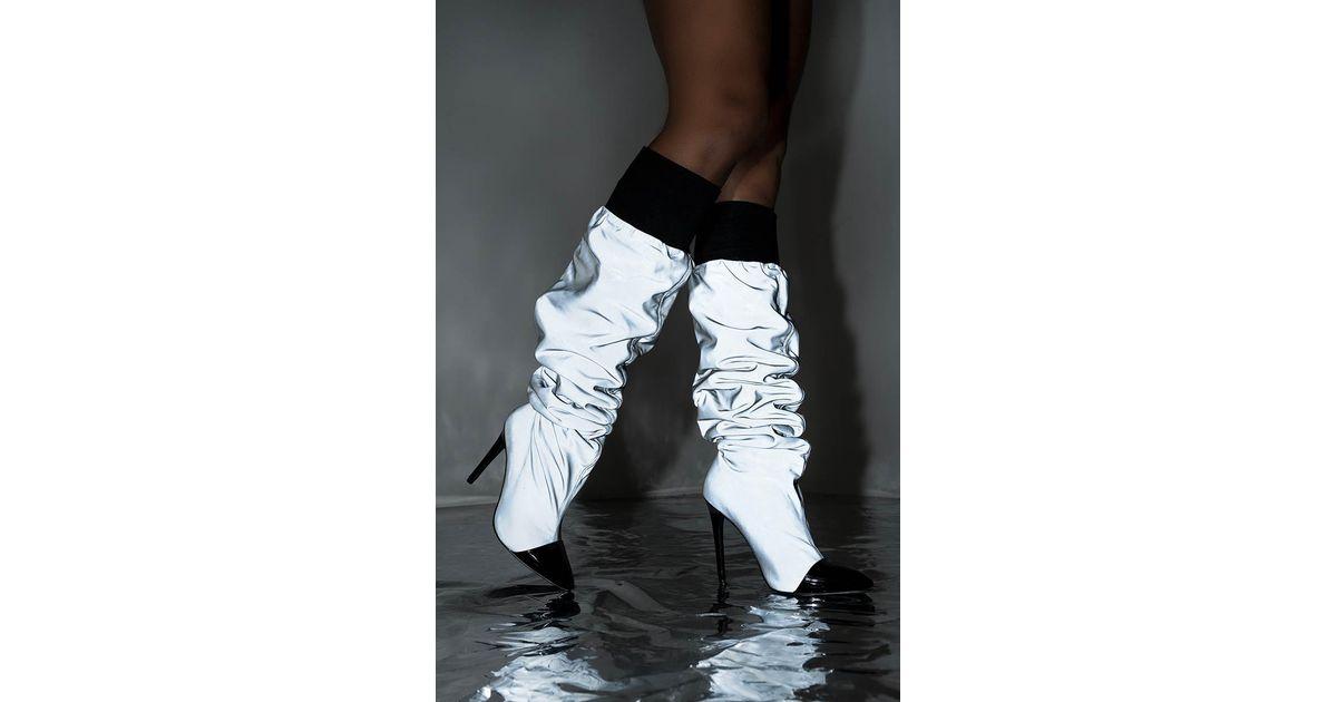484d6addb27 Akira Black Enchanted Reflective Heeled Boot