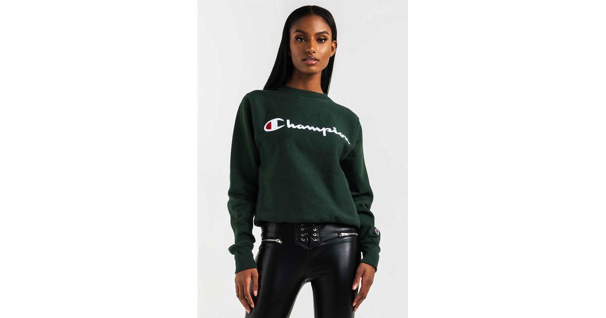 ec0aca4b AKIRA Champion Women's Reverse Weave Script Logo Crew Sweatshirt in Green -  Lyst