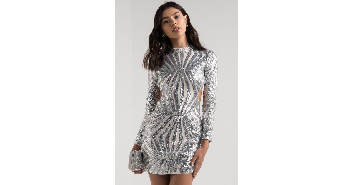 6ed21a9859e AKIRA Center Stage Open Back Sequin Mini Dress in Metallic - Lyst