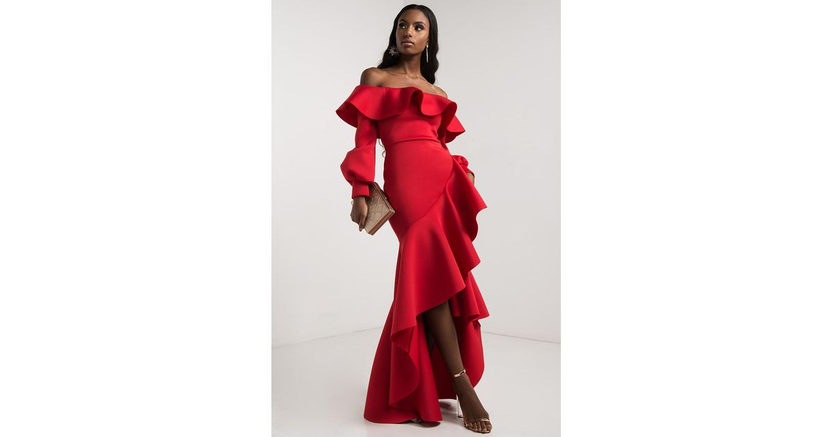 dd4baad4772a Lyst - AKIRA Gigi Off Shoulder Ruffle Front Gown in Red