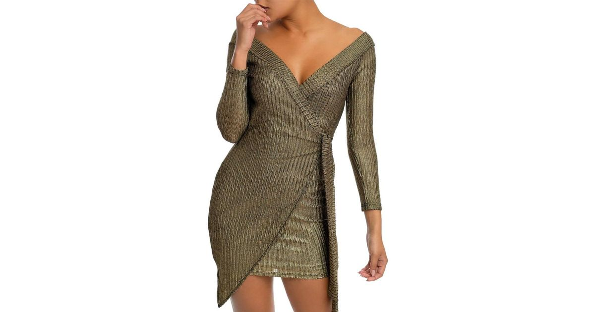 4e55d03c9cdf Lyst - AKIRA *preorder - Expected Ship Date 3/15* Another Fabulous Day Off  Shoulder Metallic Mini Dress in Metallic
