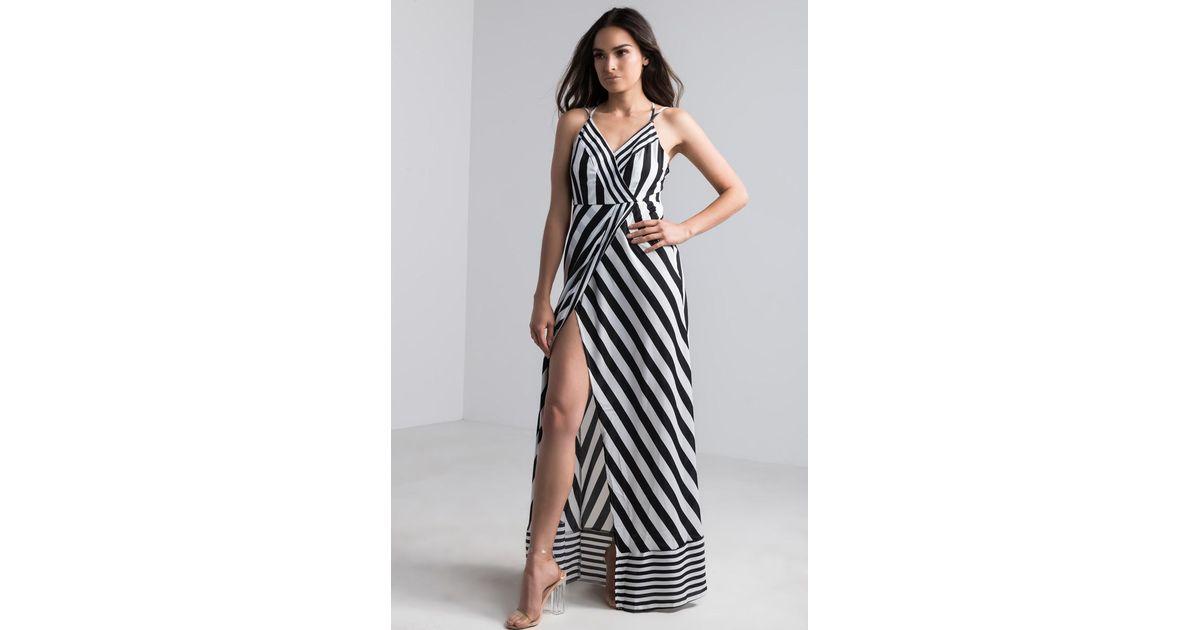 0df37bffea6 AKIRA Detection Striped Maxi Dress in Black - Lyst