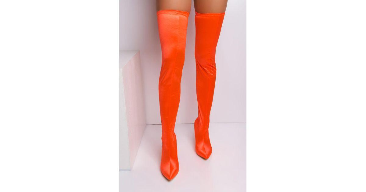 b8c4a507dcef Lyst - AKIRA Bubblegum Thigh High Boots in Orange