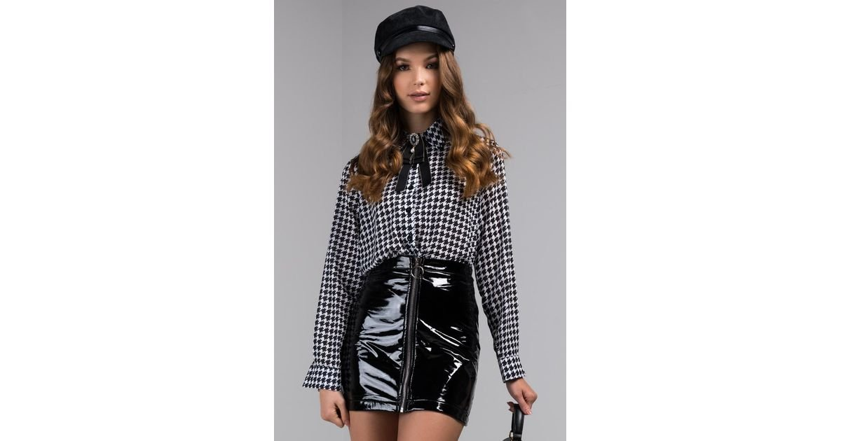 f9215a2e AKIRA Tea For Two Houndstooth Button Down Blouse in Black - Lyst