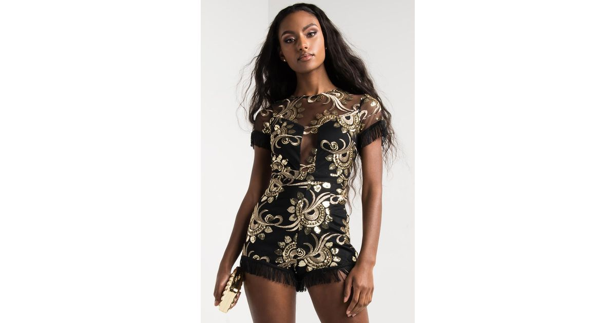 af979a564d09 Lyst - Akira Can t Stay Away Sequin Romper in Black