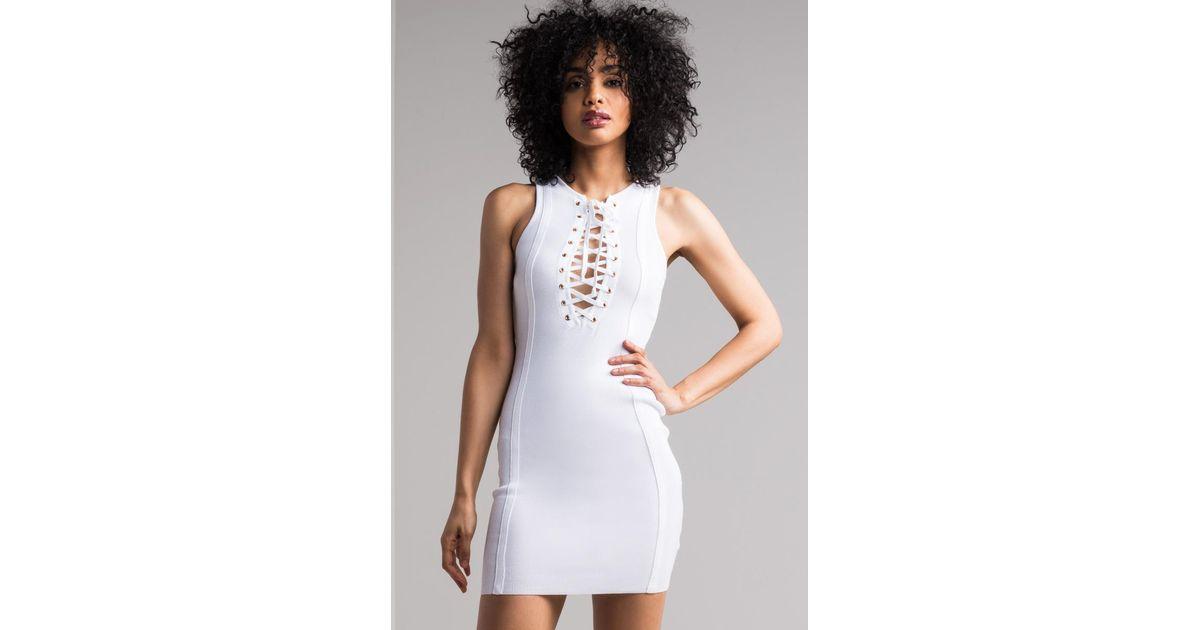 b6cd59cd51b8 Lyst - AKIRA No Pretense Laced-up Bodycon Dress in White