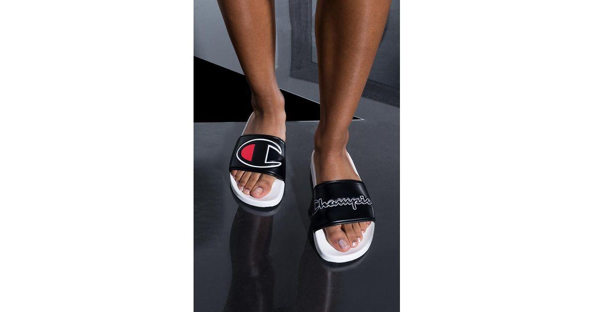 d30b0733eb2 Lyst - Champion Womens Ipo Script And Big C Logo Slide Sandal in Black for  Men