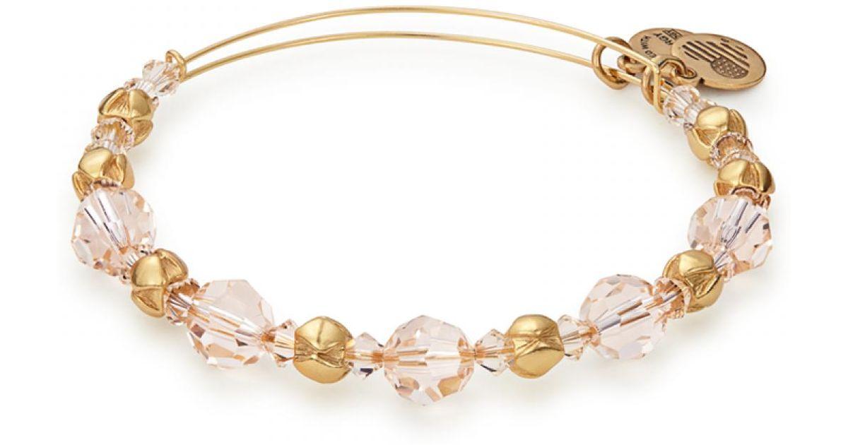 579526622ab87 ALEX AND ANI Metallic Blush Beaded Bangle With Swarovski Crystals (shiny  Gold Finish) Bracelet