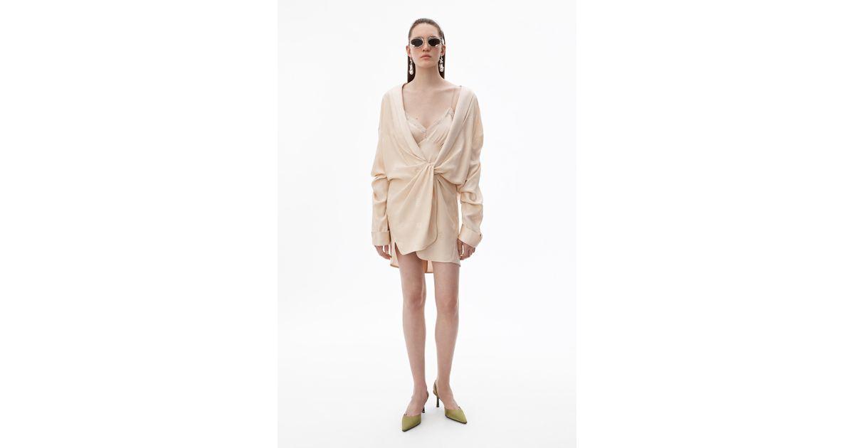 d9fa4fc89408 Alexander Wang Draped Pajama Romper in Natural - Lyst