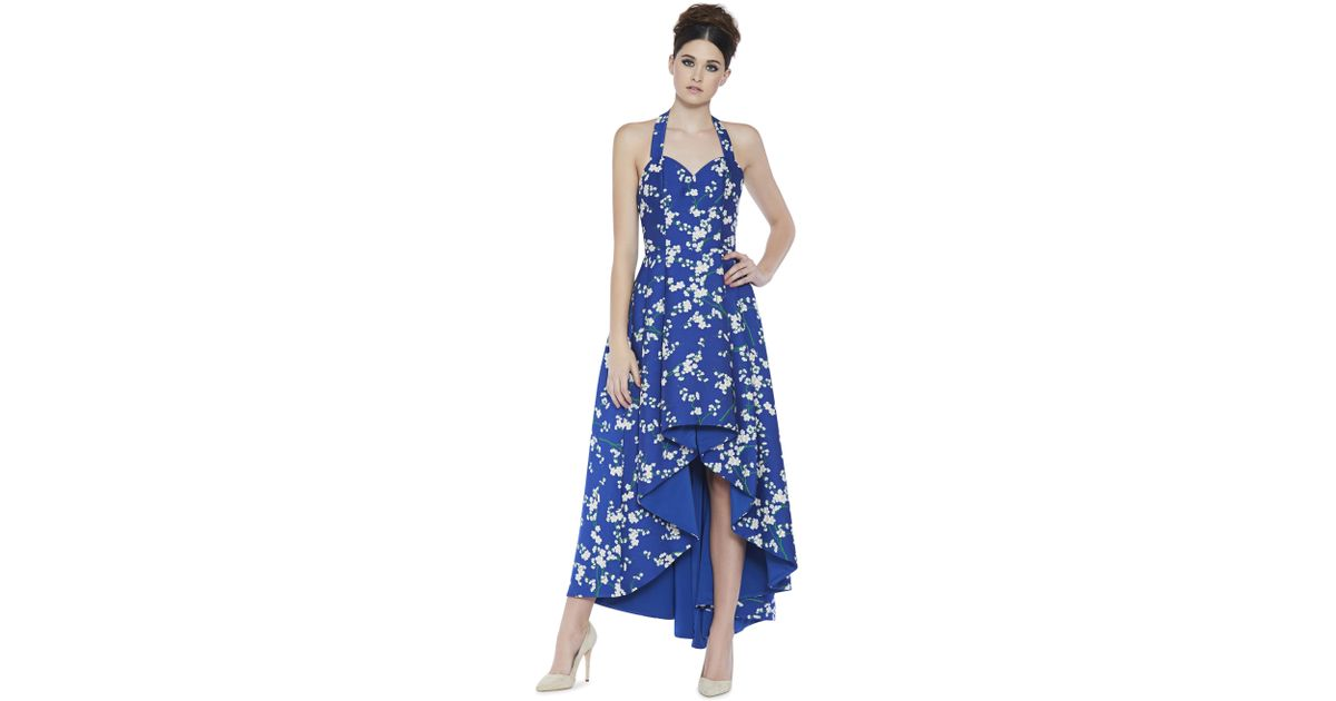 16c3ee5f9a Lyst - Alice + Olivia Harper Sweetheart Floral-print High Low Evening Ball  Gown in Blue - Save 82%