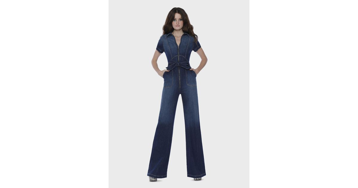 afef1668e1a Lyst - Alice + Olivia Gorgeous Wide Leg Jumpsuit in Blue