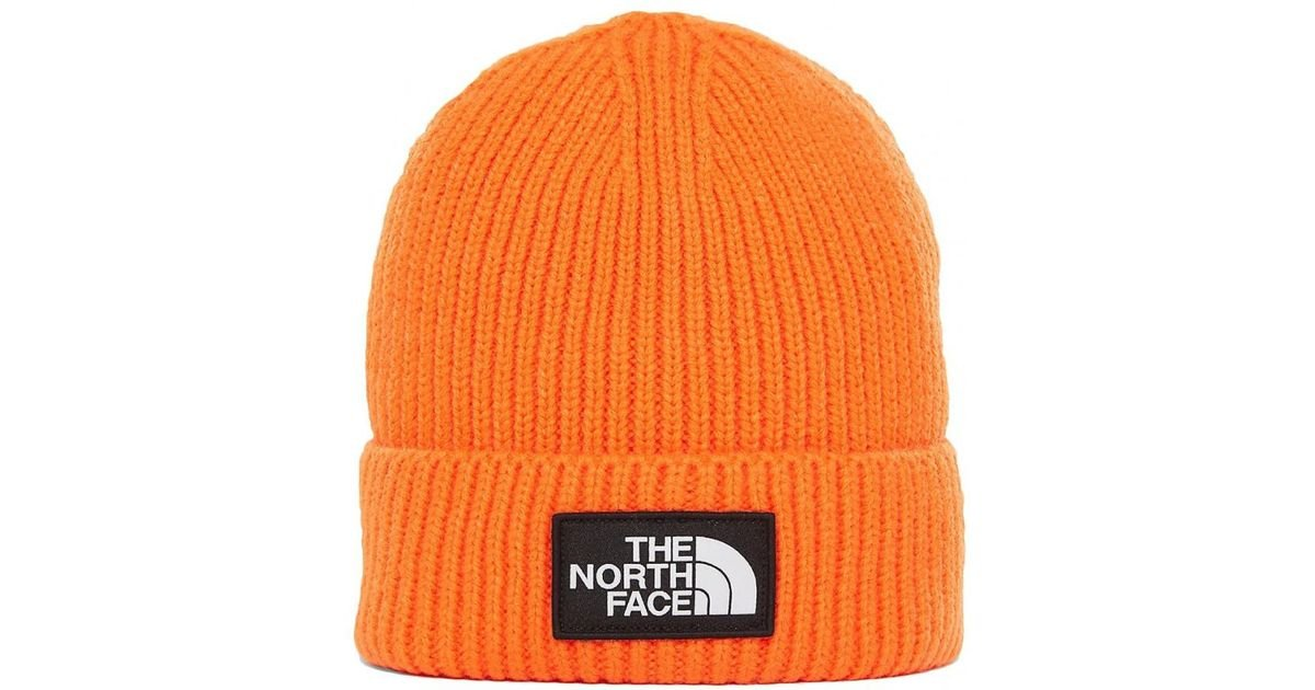 639b997d083 Lyst - The North Face Tnf Logo Box Cuffed Beanie in Orange for Men