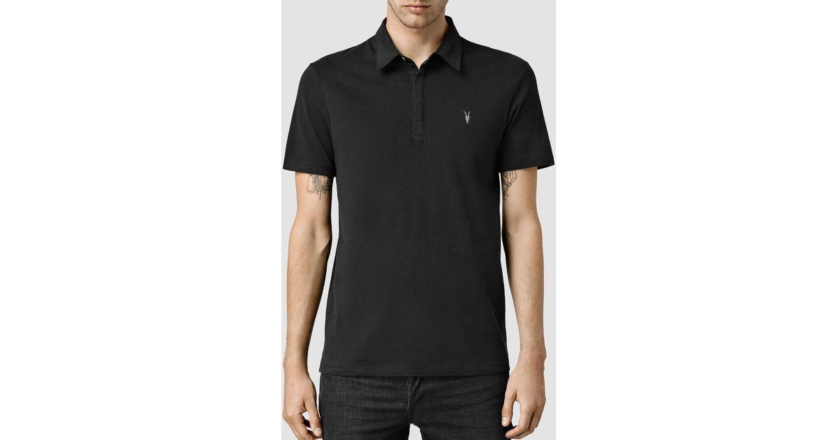 Allsaints Brace Polo Shirt In Black For Men Lyst