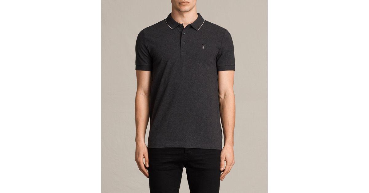 Allsaints Houston Polo Shirt In Grey For Men Lyst