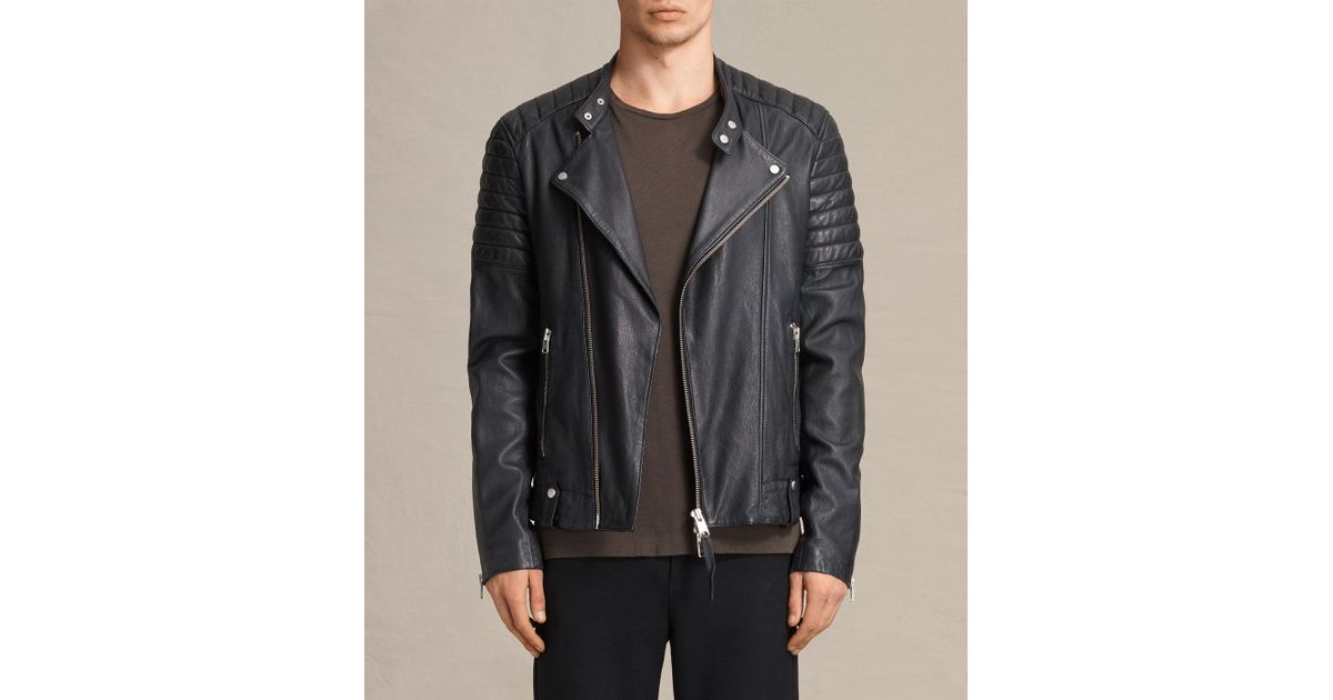 c7ae10b994 Lyst - AllSaints Jasper Leather Biker Jacket in Blue for Men
