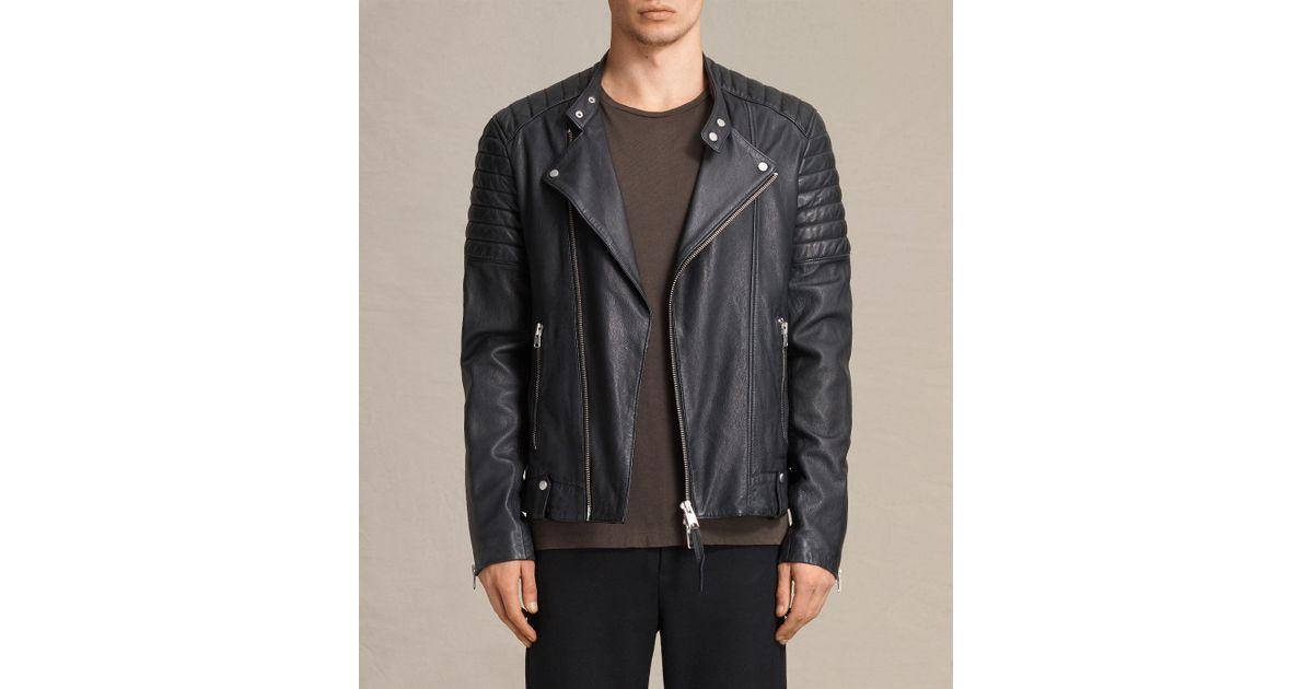 7d161956c AllSaints Blue Jasper Leather Biker Jacket for men