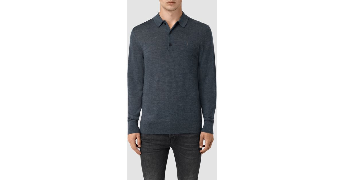 Lyst Allsaints Mode Merino Long Sleeve Polo Shirt In