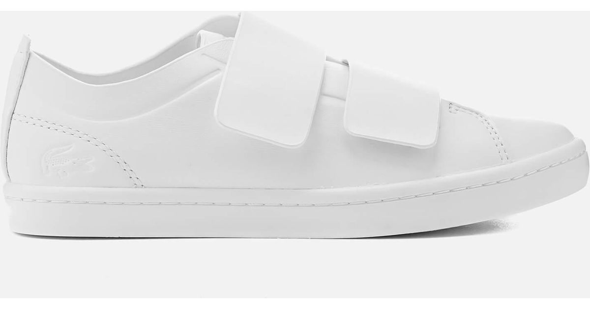 43d66c23e Lacoste Straightset Strap 118 1 Leather Cupsole Trainers in White - Lyst