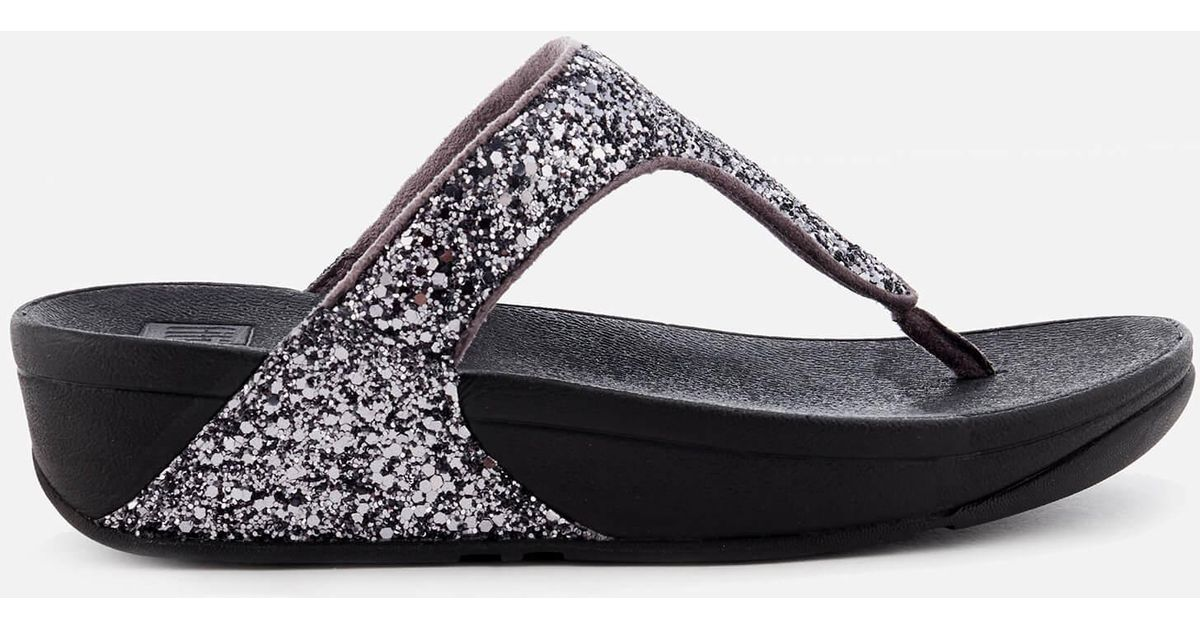 d8e28eee58d Lyst - Fitflop Glitterball Toe Post Sandals in Metallic