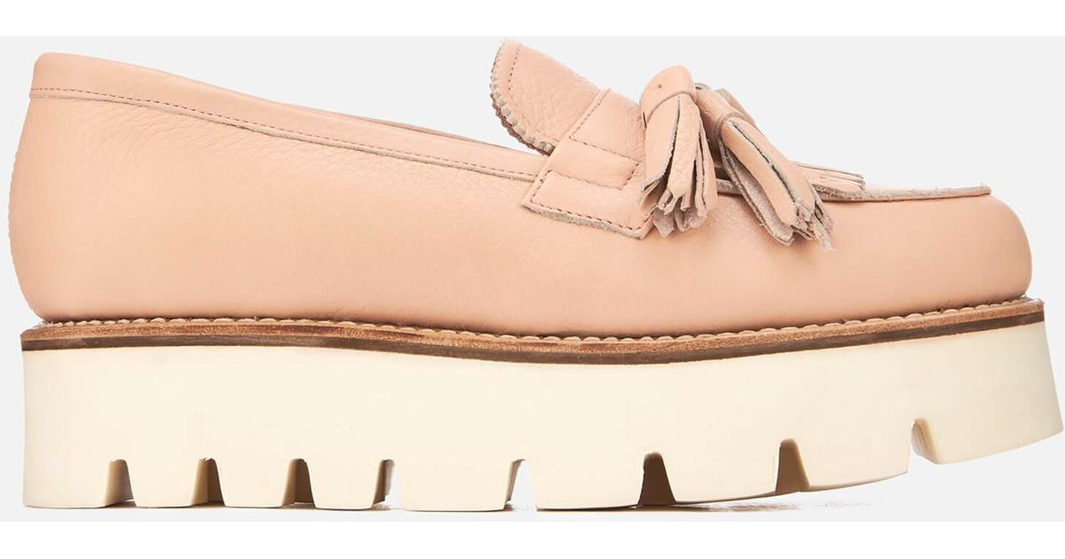 12690694abb Grenson Claudia Leather Flatform Loafers in Pink - Lyst