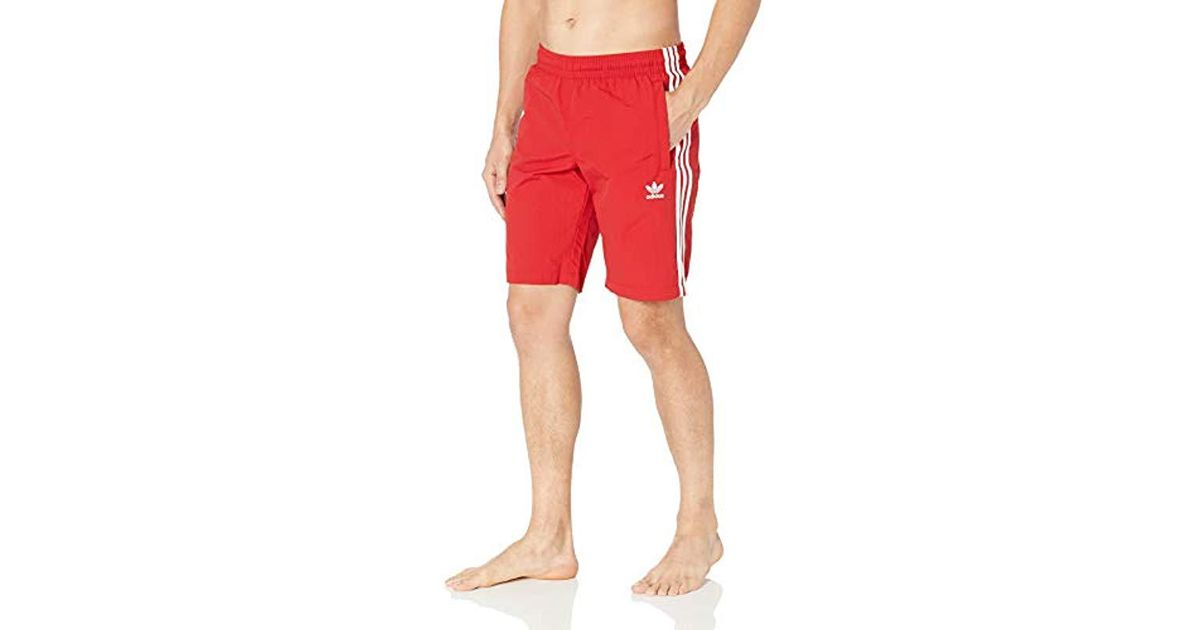 7873858088 adidas Originals 3-stripes Swim Trunks in Red for Men - Lyst