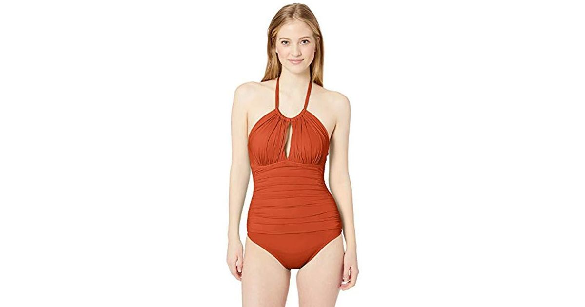 7e54fab89c1 Kenneth Cole Reaction High Neck Keyhole Halter One Piece Swimsuit in Red -  Lyst