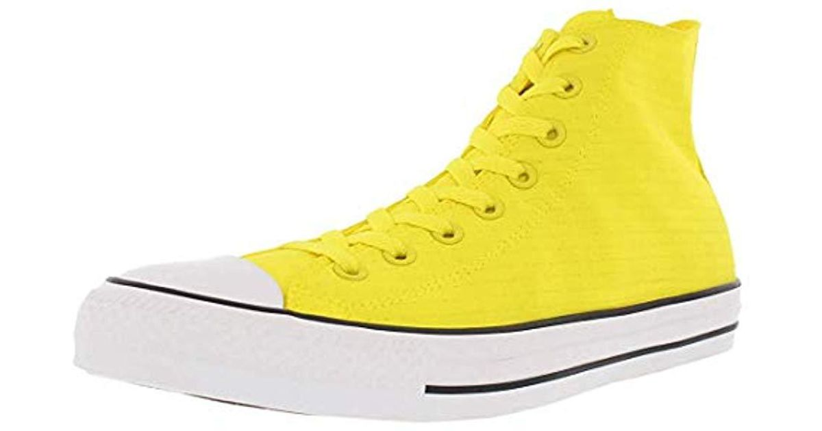 2a9365549cbe15 Lyst - Converse Chuck Taylor All Star Shiny Tile High Top Sneaker in Yellow