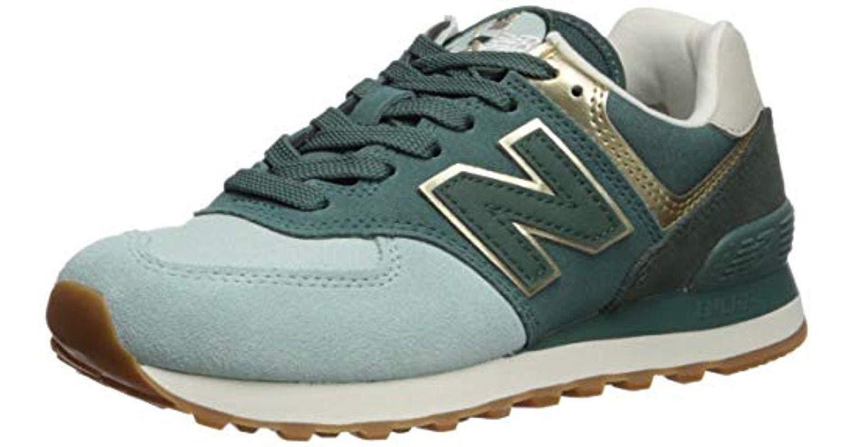 744ad2243236c New Balance Green 574v2 Sneaker, White Agave/light Gold, 6 D Us