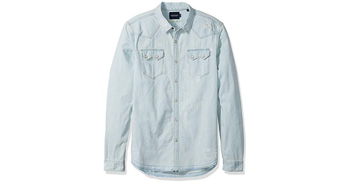 Scotch /& Soda Mens AMS Blauw Sawtooth Shirt in Seasonal Washes