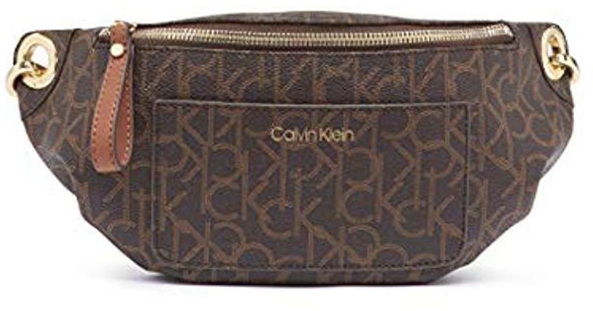 b1ae196bfc Calvin Klein Sonoma Signature Monogram Belt Bag in Brown - Lyst