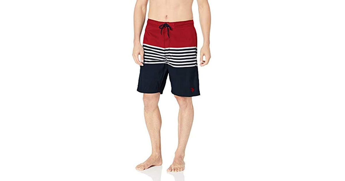 e938e9fb9d Lyst - U.S. POLO ASSN. Swim Short With Horizontal Stripes in Blue for Men