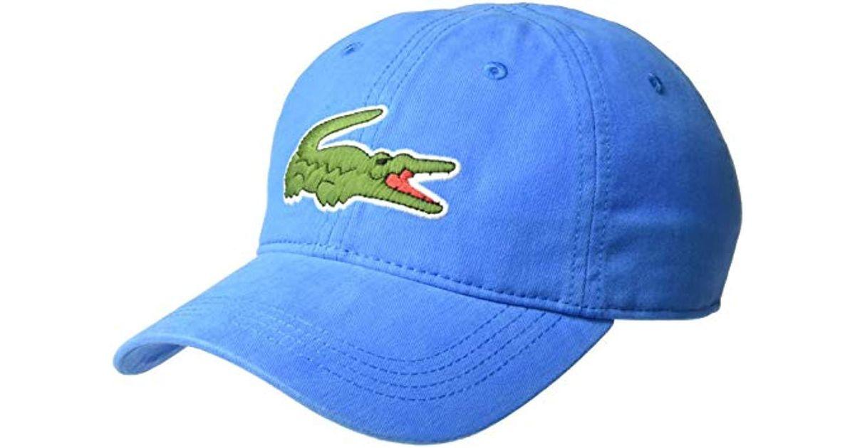 15b086650ca Lyst - Lacoste S Big Croc  Gabardine Cap in Blue for Men