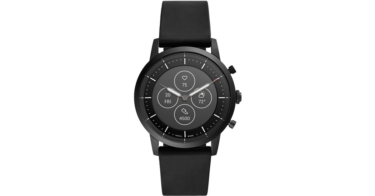 Fossil 42mm Collider Hr Heart Rate Stainless Steel And Silicone Hybrid Hr Smart Watch In Black For Men Save 30 Lyst
