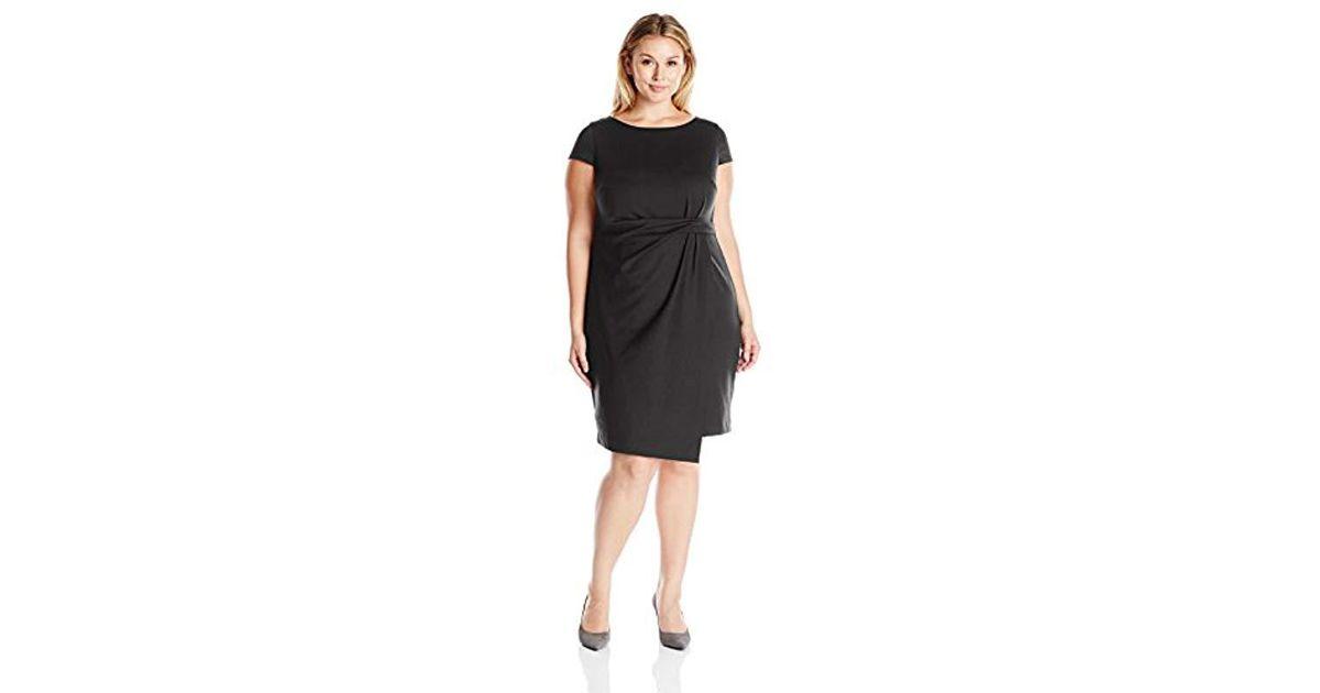 Jones New York Black Plus Size Short Sleeve Tucked Dress
