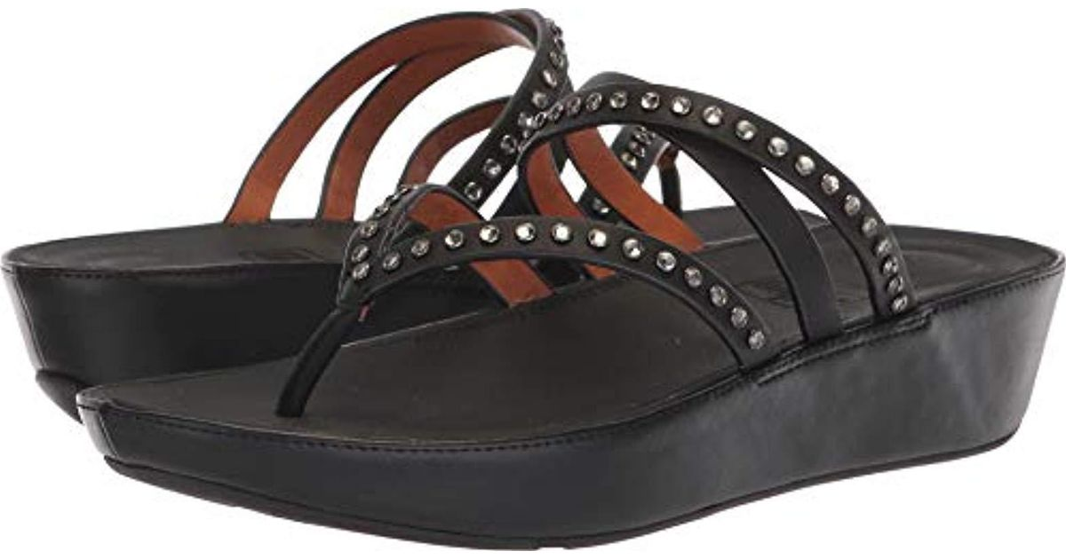 8198ddb041db7 Fitflop Black Linny Criss Cross Toe-thong Sandals-crystal