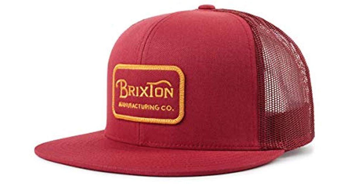 Lyst - Brixton Grade High Profile Adjustable Mesh Hat in Red for Men c22c6e60c1e7