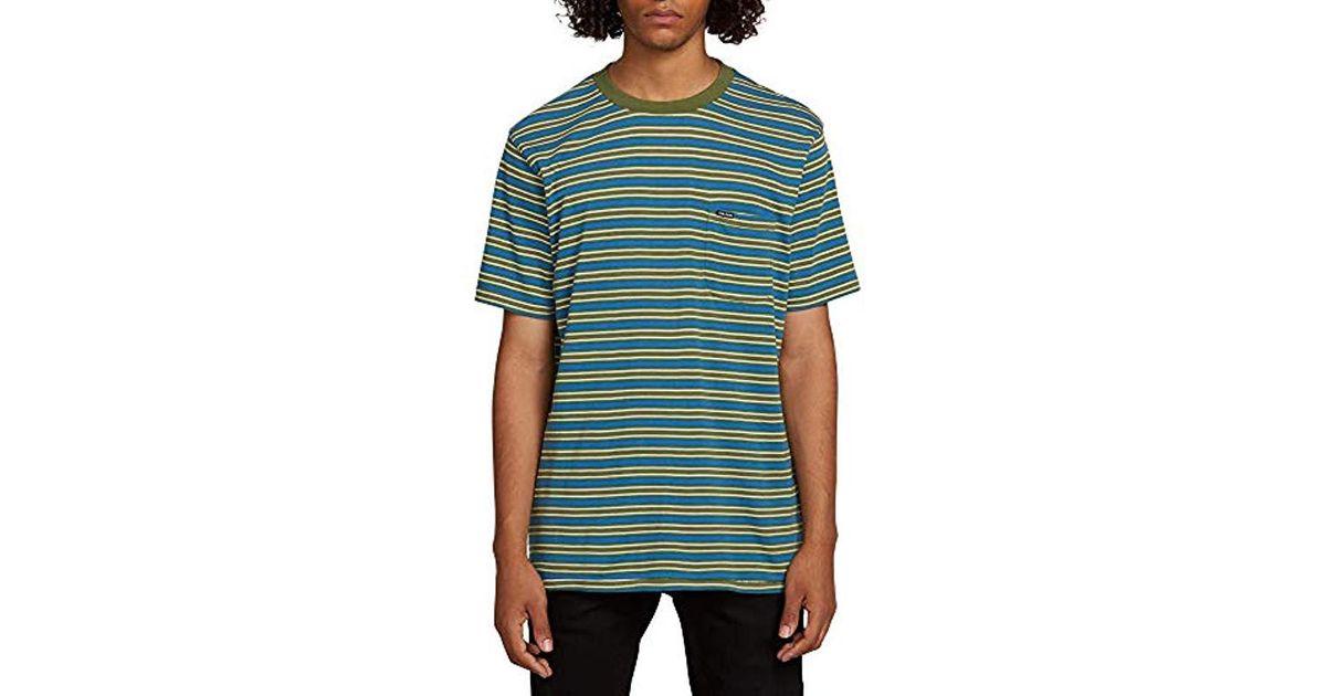 599db4f3 Lyst - Volcom Moore Stripe Short Sleeve Shirt in Green for Men - Save 3%