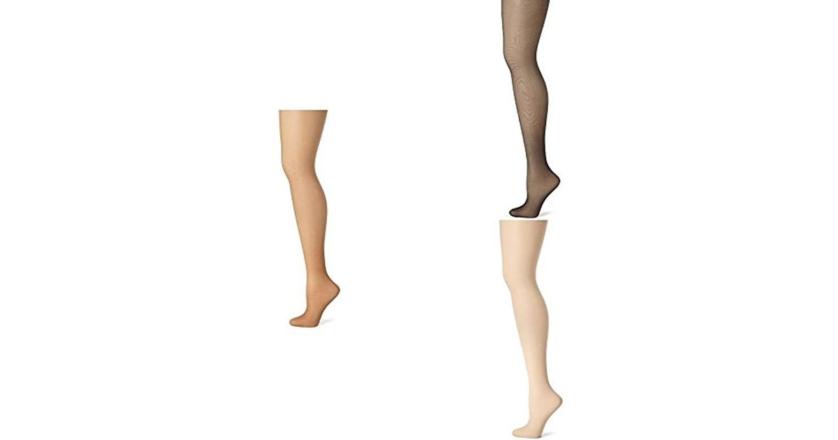 d1ee6f01b38 Lyst - Hanes 3 Pack Control Top Sheer Toe Silk Reflections Panty Hose