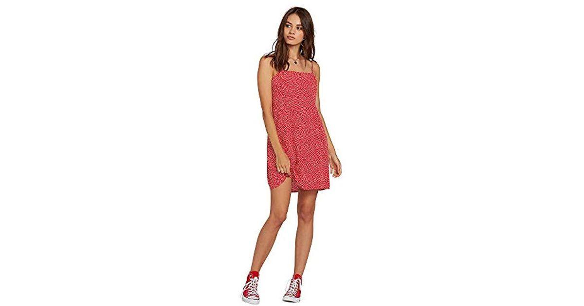 b59a50f6baa Lyst - Volcom Gen Wow Allover Print Cami Dress in Red