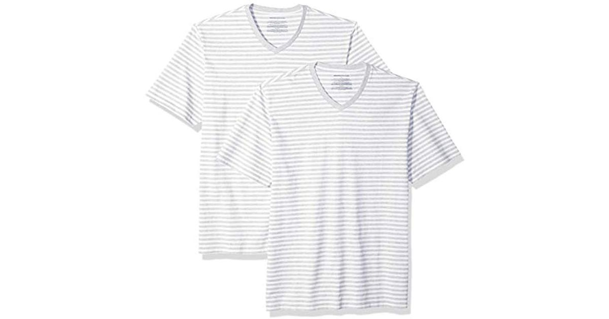 acee16dcfe Lyst - Amazon Essentials Loose-fit Short-sleeve Stripe V-neck T-shirts in  White for Men
