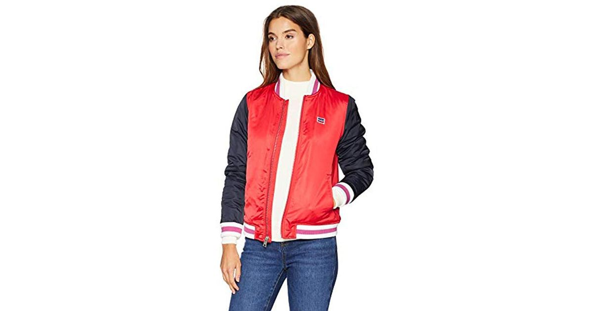 86a798b200a Lyst - Levi s Plus Size Retro Varsity Performance Bomber Jacket in Red -  Save 22%