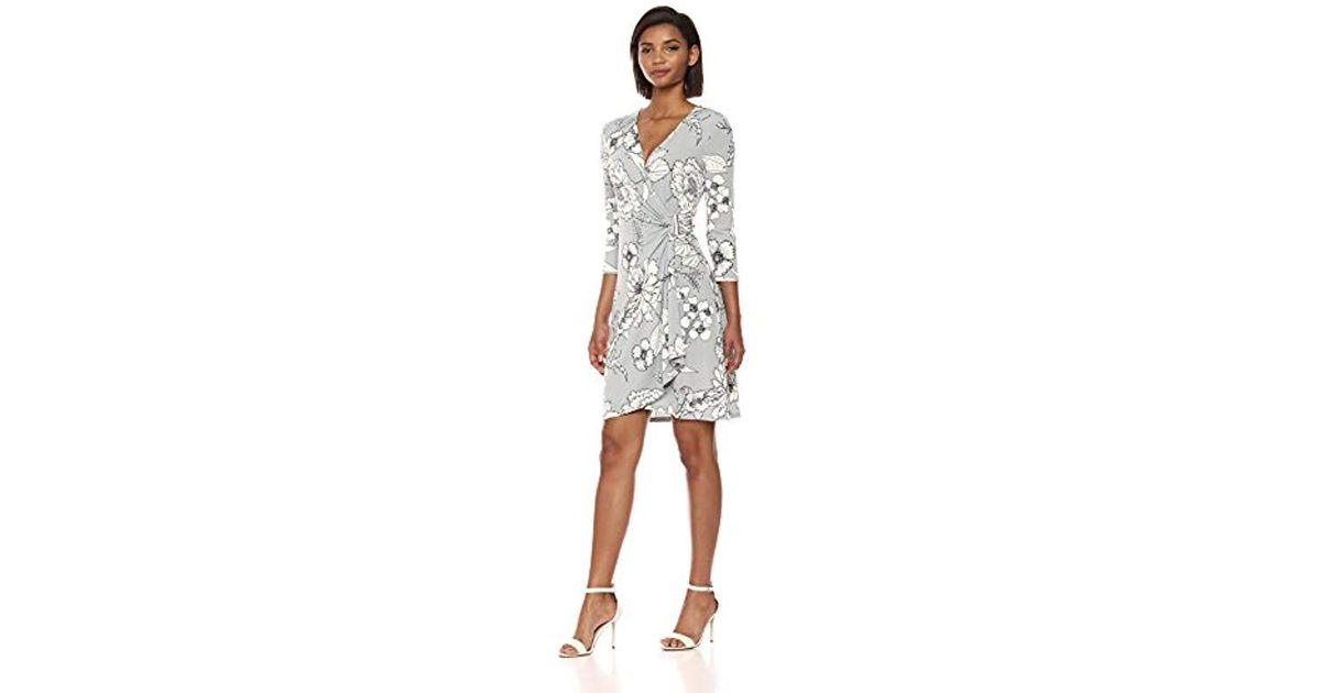 Calvin Klein Printed Three Quarter Sleeve Dress With