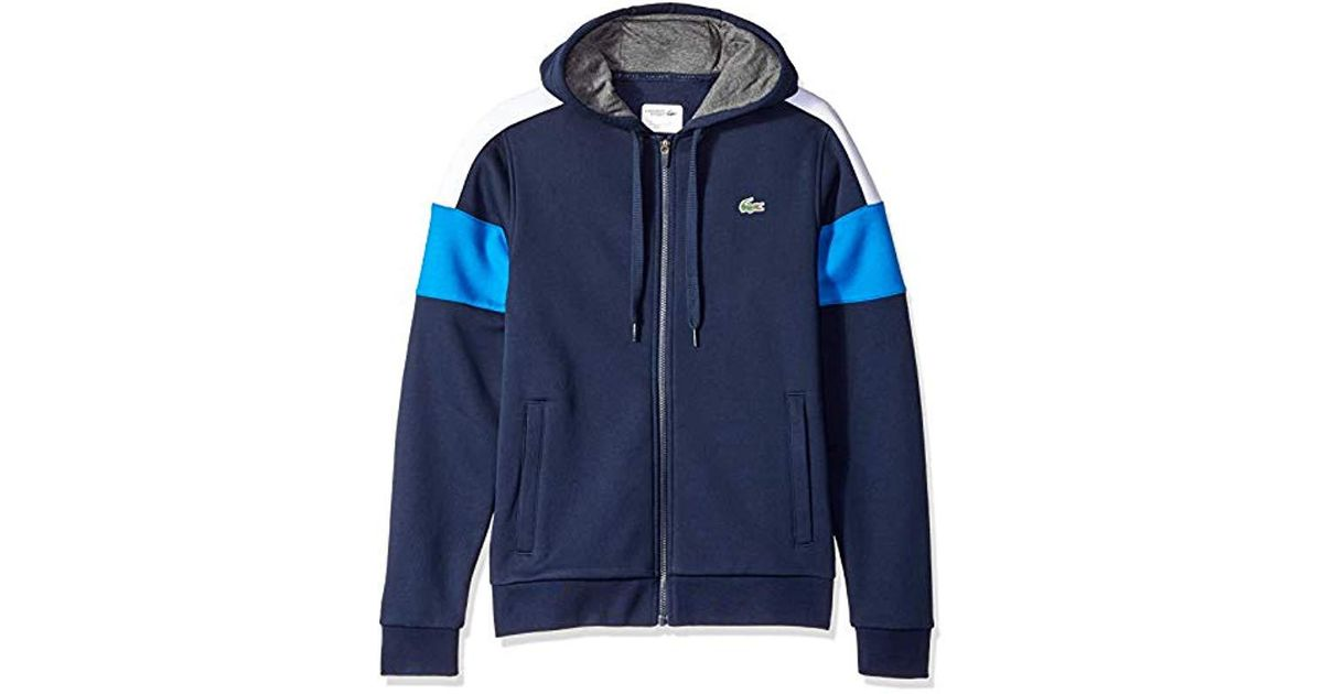 40ca8e03 Lacoste Blue Mixed Media Colorblock Hooded Sweatshirt for men